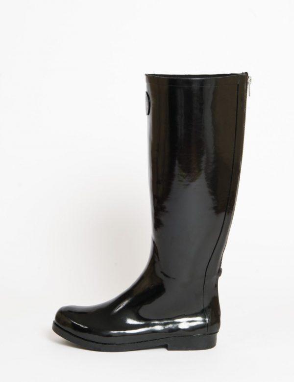 """Hepburn"" Tall Black Rear Zip Up Wellington Boot"