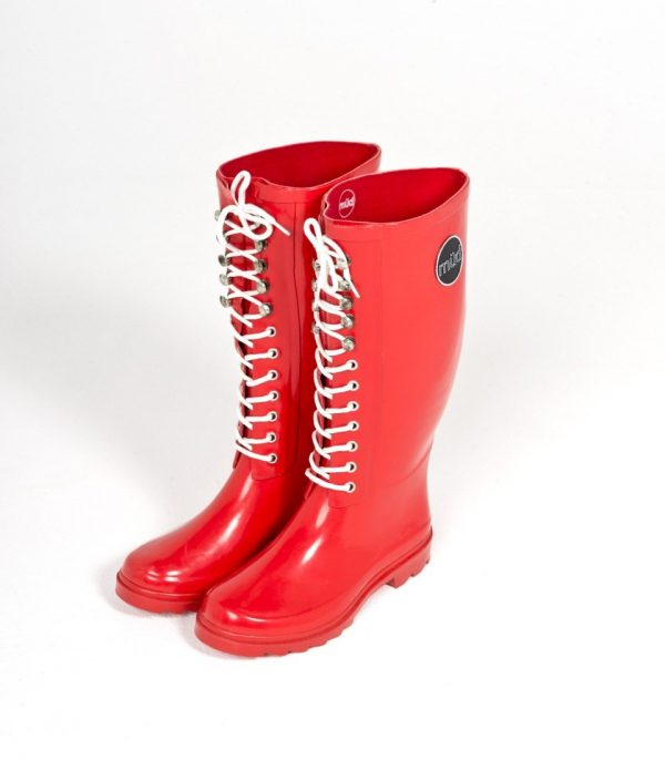 """""""Bardot"""" – Red, Lace Up Front, Tall Wellington Boot"""
