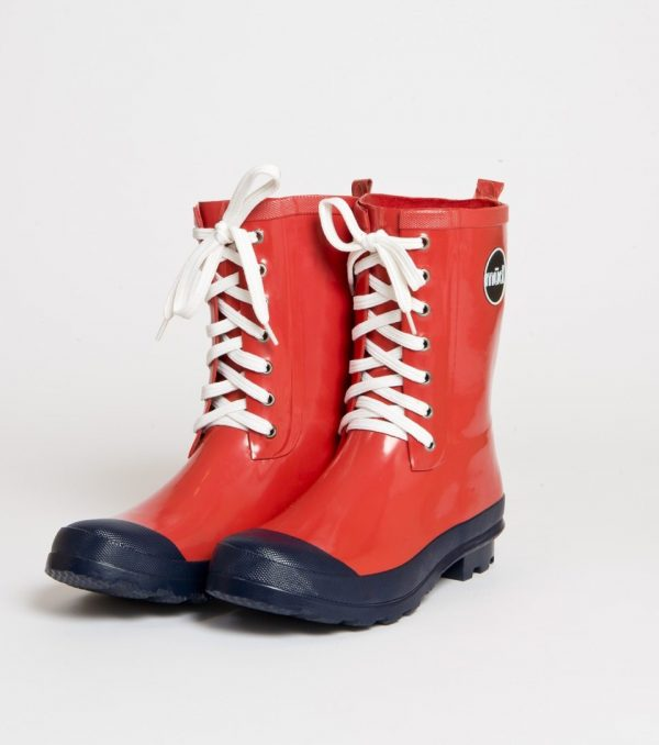 """""""Lulu"""" – Red, Short, Wide, Lace Up Wellington Boot"""