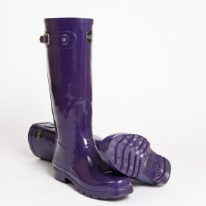 """Acquitaine"" – Tall Purple Side Buckle Wellington Boot"