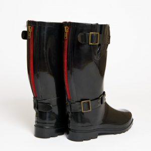 """""""Onassis"""" – Black, Short Wide Buckle Wellington Boot"""