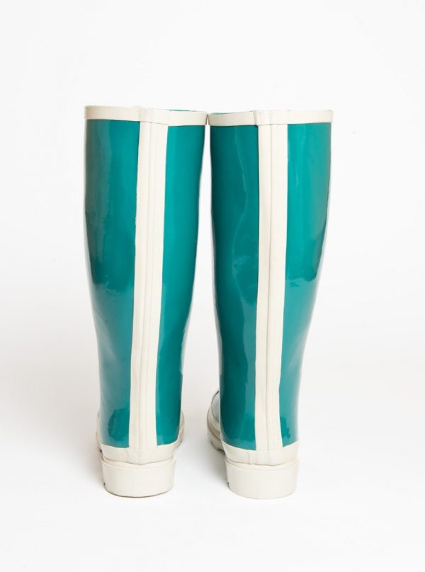 """""""Austen"""" – Teal Green and White, Tall Wide Wellington Boot"""