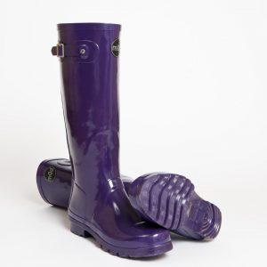 """Acquitaine"" – Tall Purple Side Buckle Wellington Boot"